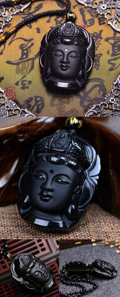Natural Obsidian Buddha Pendant Necklace is Exquisitely Handcrafted and Polished by Most Skilled Masters