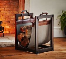 Fireplace Tools Accessories Log Carrier Holder Combo Iron Leather Firewood Tote