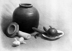 art pencil drawings | Hand made Pencil Graphite Drawing Still Life on 18x24 Bristol Paper ...
