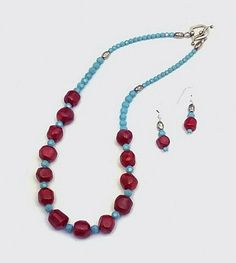 Red Coral and Turquoise Swarovski Crystal by ClassyGemsByCarol