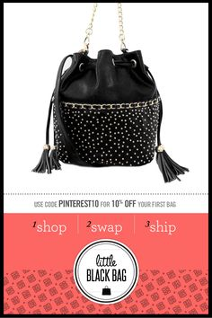 Nila Anthony Studded Bucket Bag from LittleBlackBag.com  Black::Handbag:: Bucket:: Tassel:: Studs