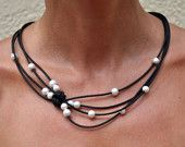 Leather and Pearl Black & White Reef Knot Necklace