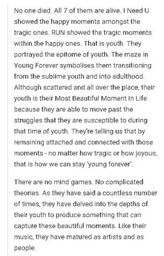"I'm pretty sure this is closer to the truth than any other theory. BTS has always represented ""youth."""