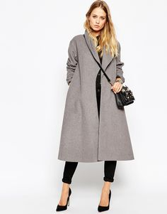 Shop ASOS Coat in Midi Swing Trapeze. With a variety of delivery, payment and return options available, shopping with ASOS is easy and secure. Shop with ASOS today. Look Fashion, Winter Fashion, Fashion Outfits, Fashion Clothes, Winter Coats Women, Coats For Women, Nylons, Long Grey Coat, Gray Coat