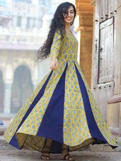 Buy Online Authentic Hand Block Printed Indian Dresses, Ajrakh Dresses at InduBindu. Best collection of Hand Printed Dresses. Designer Anarkali, Designer Kurtis, Designer Wear, Cotton Long Dress, Cotton Dresses, Abaya Fashion, Indian Fashion, One Piece Gown, Angrakha Style