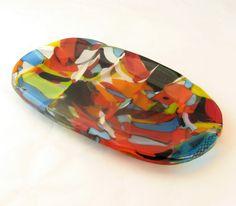 Multicolored Fused Glass Soap Dish by trilobiteglassworks.deviantart.com on @deviantART