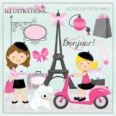 Bonjour From Paris Cute Digital Clipart for Card Design, Scrapbooking, and Web Design, Paris Clipart