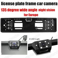fashionable 4 LED 135 degree wide angle Car Waterproof License Plate Frame Rear View Camera Parking for Europe License Plate #Affiliate