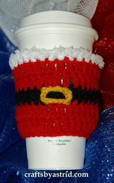 """9"""" x 3.5"""" Santa Crochet Cup Cozy. *Plastic cup not included."""