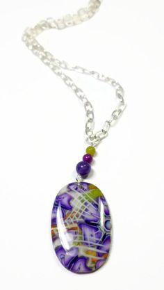 Polymer clay Purple Flowers Pendant Necklace by BeadazzleMe, $19.00