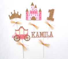 5 Princess Pink and Gold Glitter Themed by ScrapsToRemember