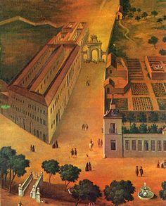 El Real Pósito y la Huerta del Rey. Al fondo, la antigua Puerta de Alcalá
