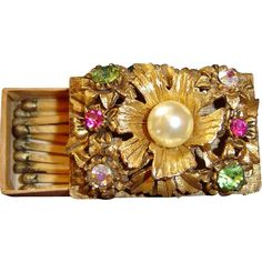 Florenza Florentine Jewelled Match Box with Original Gold Matches Exclusively at Lee Caplan Vintage Collection on RubyLane
