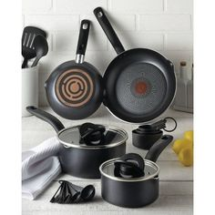 T-Fal 10pc Simple Stack Non Stick Cook Set Black Pan Set, Cookware Set, Measuring Spoons, Cooking, Simple, Kitchen, Black, Products, Invitations