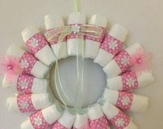 Items similar to Baby Shower Diaper Wreath - It's a Boy- It's A Girl- Celebration for Baby on Etsy