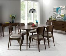 Bentley Designs Oslo Walnut 6 Seater Dining Table With Veneered Back Chairs