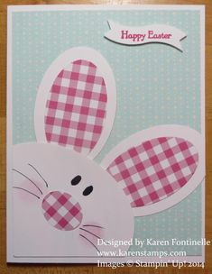 Make a fun Punch Art Bunny Easter Card with some Oval Framelit Dies and Gingham Garden Designer Series Paper.