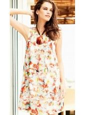 LINEN LAVATO PRINT SLEEVELESS DRESS