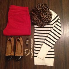 Red jeans, striped sweater, leopard scarf, camel flats -