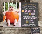 Little Pumpkin Chalkboard printable birthday invitation with photo