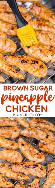 Brown Sugar Pineapple Chicken - only 4 ingredients! SO good!!! We actually made it twice in one week. Pineapple juice, brown sugar, BBQ sauce and chicken. Such an easy weeknight meal. ~ Plain Chicken