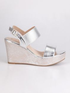 Clothes, Shoes & Accessories Sandali argento a righe zeppa