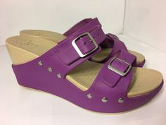 Womens Crocs Purple rubber wedge strappy sandals with buckles studs Size 8 US  | eBay