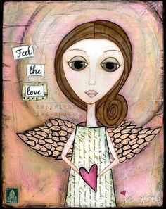 Mixed Media Art Loving Angel 8x10 print Whimsical Art by JCSpock