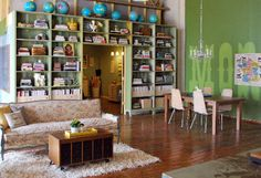 Cool 49 Simple But Smart Living Room Storage Ideas : 49 Smart Living Room Storage Ideas With White Green Wall Wooden Bookcase Brown Sofa Pillow Table Carpet Dining Table Chandelier Hardwood Floor Simple Living Room, Rugs In Living Room, Living Room Decor, Living Area, Living Room Storage, Storage Spaces, Storage Ideas, Storage Solutions, Creative Storage