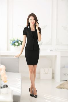 a2b23b2f632 Summer Fashion Green Blazer Women Business Suits with Skirt and Jacket Sets  Formal Ladies Office Uniform