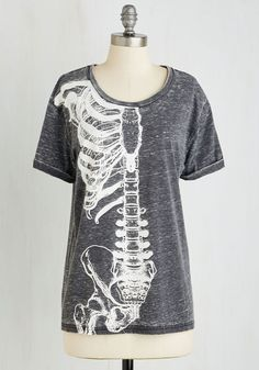 Body of Quirk Top. Youve got one anatomically adorable ensemble when you sport this cuff-sleeved, bone-printed tee! #grey #modcloth