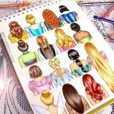 Disney hair drawn by the amazing Kristina Webb - Zeichnung Walt Disney, Disney Pixar, Disney Amor, Cute Disney, Disney And Dreamworks, Disney Magic, Disney Movies, Disney Characters, Disney Girls