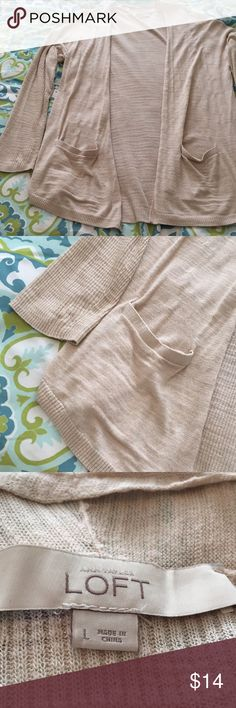 Ann Taylor LOFT Cream Large Layering Cardigan Perfect color! Matches well with just about anything!   Large - LOFT - Cute Pockets on the front are a bonus! LOFT Sweaters Cardigans