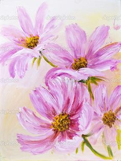 easy flower paintings on canvas Cosmos Flowers oil painting on canvas     Stock Photo    Valenty