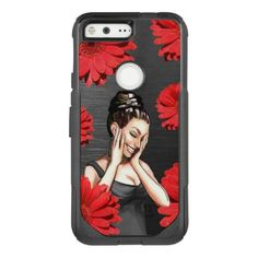 Retro Pinup Girl Laughing Red Daisy Flowers OtterBox Commuter Google Pixel Case - floral gifts flower flowers gift ideas