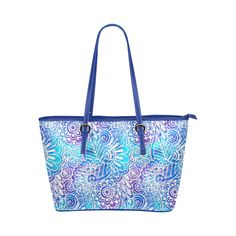 Boho Flower Doodle On Blue Watercolor Leather Tote Bag/Small (Model 1651)