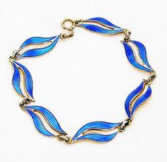 Aksel Holmsen Norway Blue Enamel Bracelet by AgedandOpulentJewels SOLD! Thank you