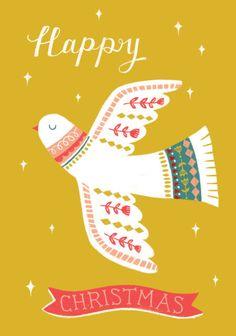 Louise Anglicas - LAS_ Christmas Retro Dove-mustard Religious
