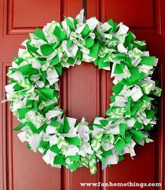 Fun Home Things: St. Patrick's Day Chevron Rag Wreath