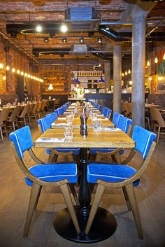 Basic Collection, Il Fornetto Blue, Moscow #restaurant #design #furniture #russia #basiccollection #moscow #food #dining #blue #chair #aska