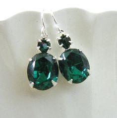 Mini Estate style dangle earrings with Emerald green Swarovski crystal, Silver Green, small version of Angelina Jolie emerald green earrings