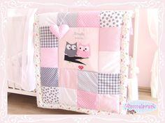 Weiteres - 70*100 Krabbeldecke ♡Lovely Owls♡ rosa-grau - ein Designerstück von Himmelswerk bei DaWanda