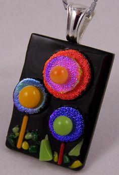 Fused Glass Sweet FolkArt Flower Pendant by shards57 on Etsy, $25.00