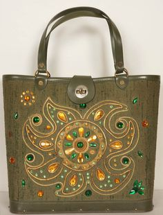 Vintage 1960's Jeweled Bucket Bag Purse - Green