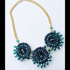 Turquoise Beaded Glam Statement Necklace Turquoise Beaded Glam Statement Necklace NYC Chic Accessories Jewelry Necklaces