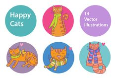 Happy Cats by natsa on Creative Market