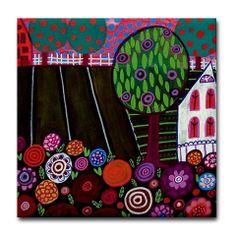 Ceramic Tile Coaster  Landscape Art   Red Barn by HeatherGallerArt, $20.00