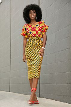 Jacket: blogger, pencil skirt, red top, two piece dress set, african print, ethnic - Wheretoget