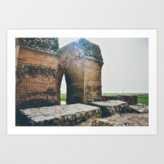 The Sun Was Always There Art Print by Katayoon Photography - $20.00  Bahram Fire Temple' of Sassanid Empire (224–651) City of Rey - Tehran Province - Iran  #history #architecture #old #building #ruin #Iran #travel #landscape #stone #green #red #light #flare