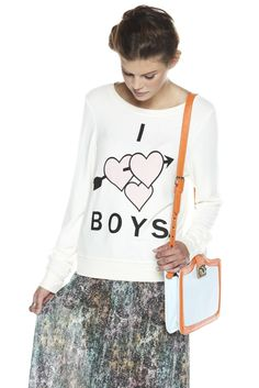 "Cream scoop-neck sweatshirt with ""I Heart Boys"" detail. Show your true feelings for the other gender with this adorable and comfy sweatshirt. $108"